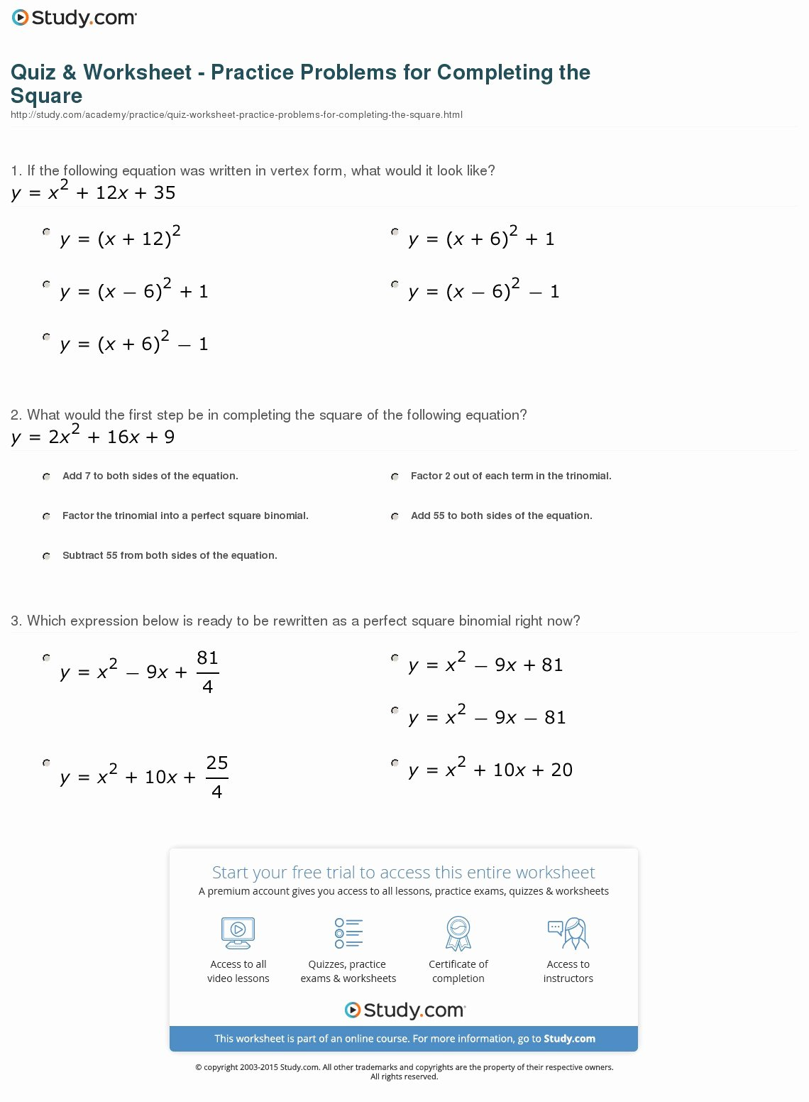 Completing the Square Practice Worksheet Printable Pleting the Square Worksheets with Answers