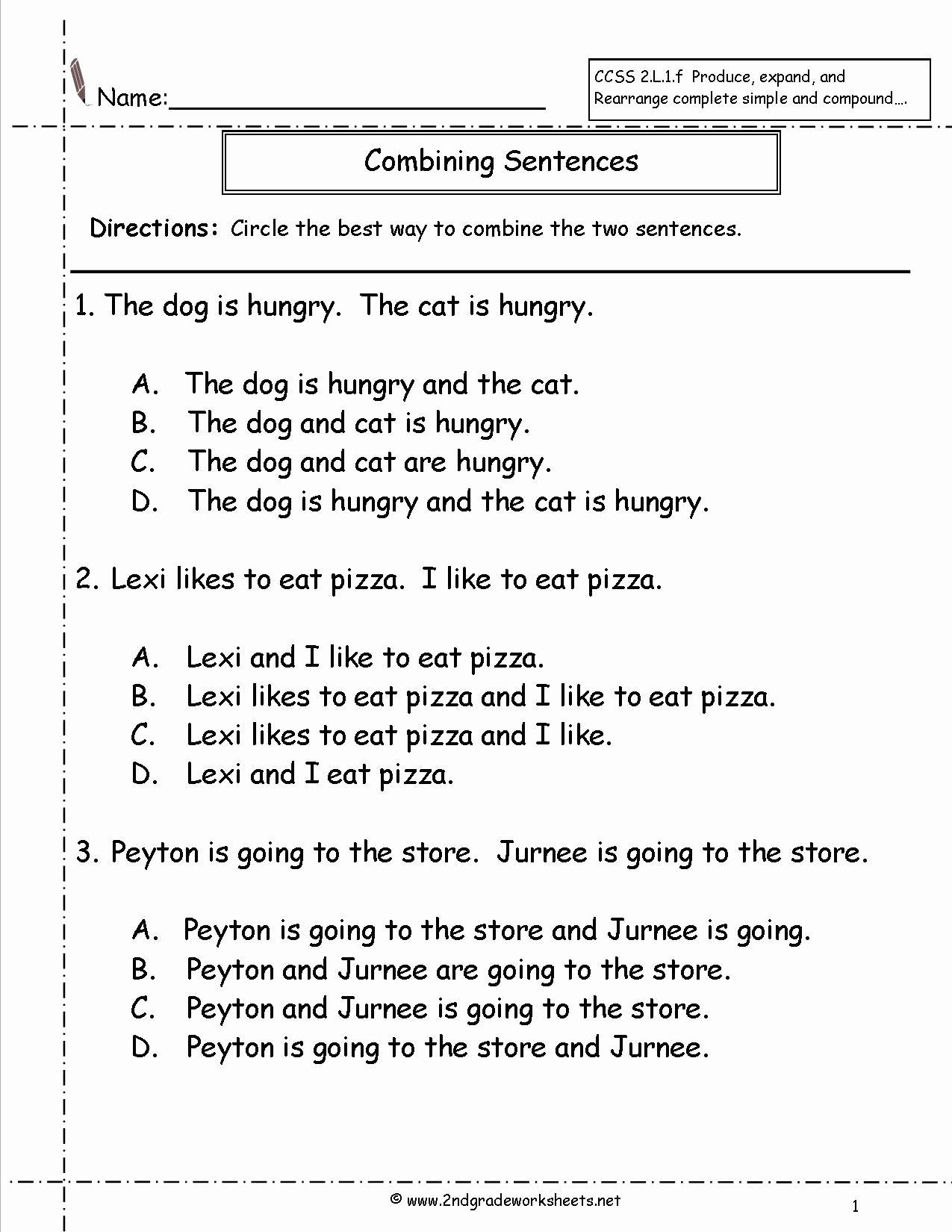 Complex Sentence Worksheets 3rd Grade Free Bining Sentences Worksheet