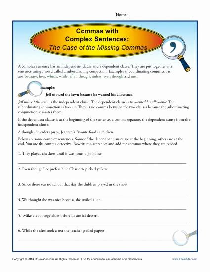 Complex Sentence Worksheets 3rd Grade Lovely Mas with Plex Sentences