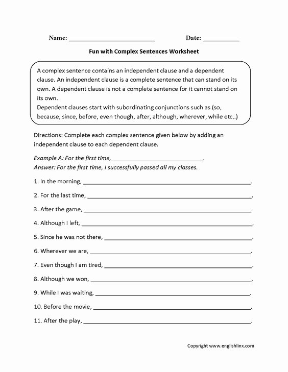 Complex Sentence Worksheets 3rd Grade New Plex Sentences Worksheets