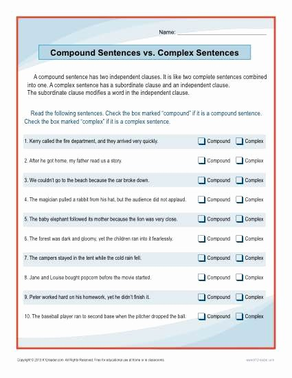Complex Sentence Worksheets 4th Grade Inspirational Pound Sentences Vs Plex Sentences Worksheet