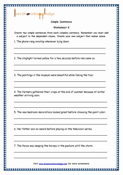 Complex Sentence Worksheets 4th Grade Lovely Grade English Resources Printable Worksheets topic Simple