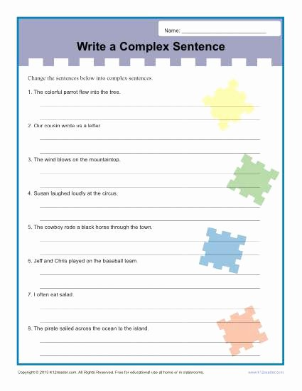 Complex Sentence Worksheets 4th Grade Printable Write A Plex Sentence Worksheet