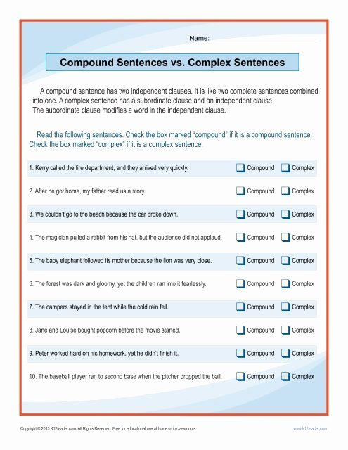 Complex Sentence Worksheets 4th Grade top Pound Sentences Vs Plex Sentences