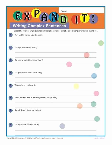 Complex Sentence Worksheets 4th Grade top Writing Plex Sentences