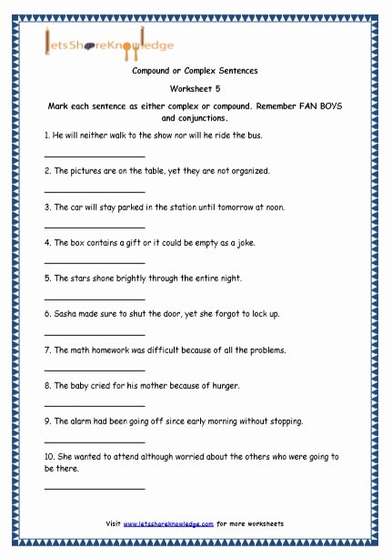 Complex Sentences Worksheets with Answers Printable Grade 4 English Resources Printable Worksheets topic Simple