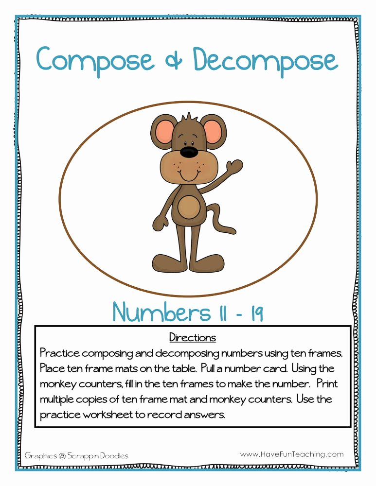 Composing and Decomposing Numbers Worksheet Ideas Pose and De Pose Numbers 11 19 Activity
