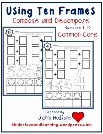 Composing and Decomposing Numbers Worksheet Lovely Pose and De Pose Numbers 1 to 10