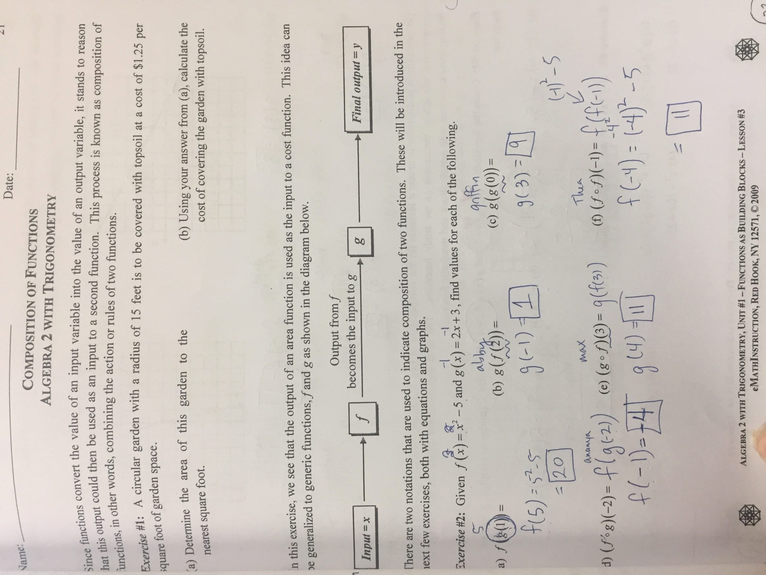 Composite Function Worksheet Answer Key Fresh Unit 1 Functions Lizzy S Classroom