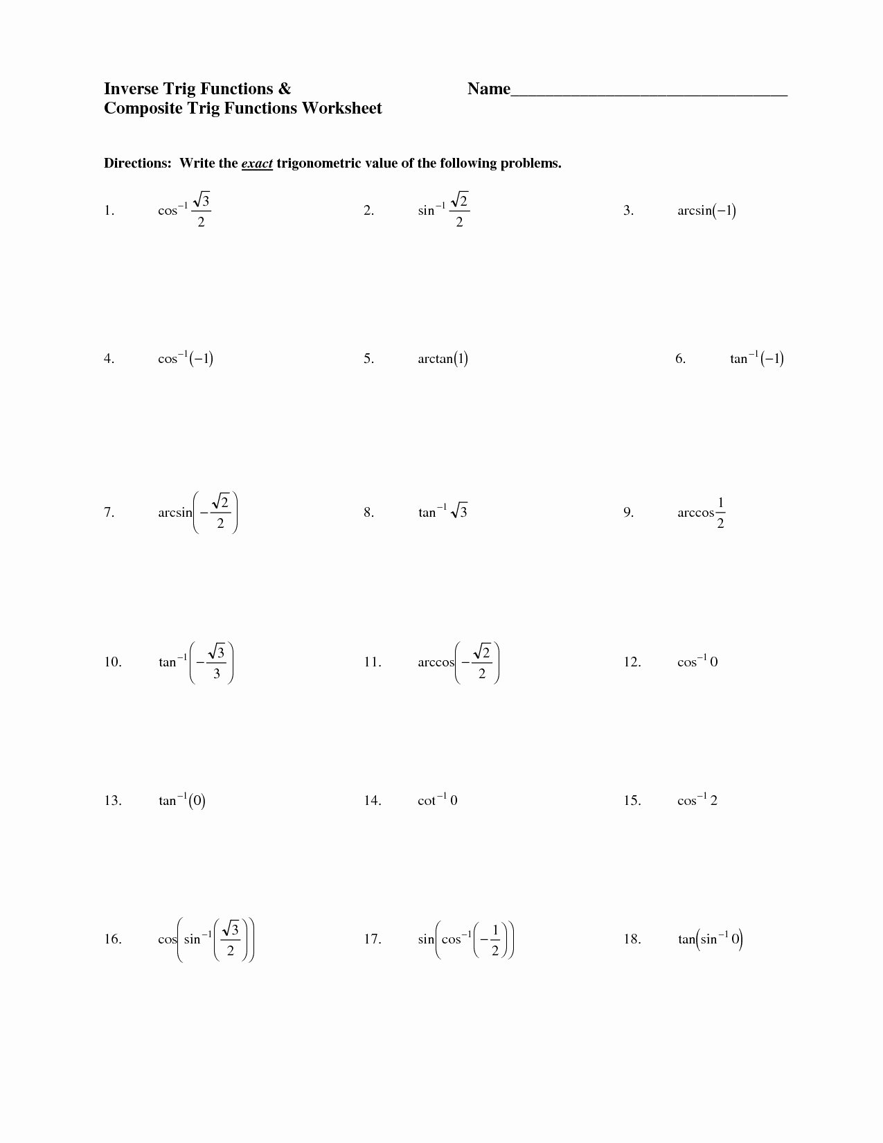 Composite Function Worksheet Answer Key Printable Position and Inverse Function Worksheet