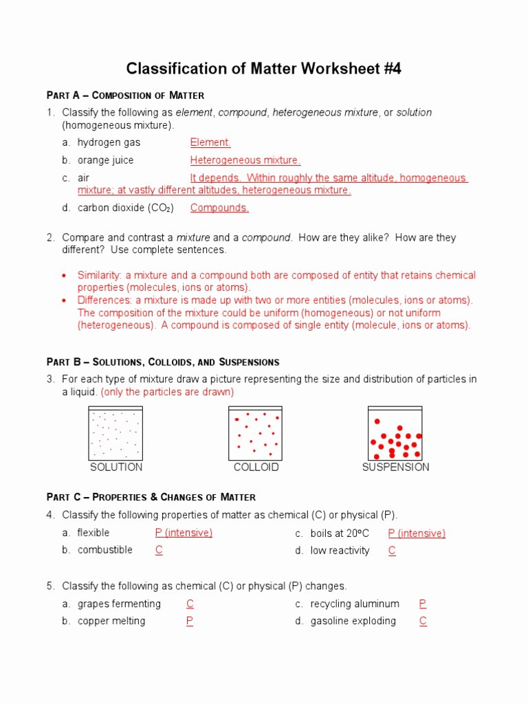 Composition Of Matter Worksheet Answers Best Of Classification Of Matters Worksheet 4 Answersc