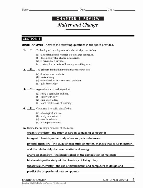 Composition Of Matter Worksheet Answers Fresh Matter and Change