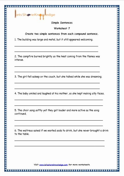 Compound and Complex Sentences Worksheet Free Grade 4 English Resources Printable Worksheets topic Simple