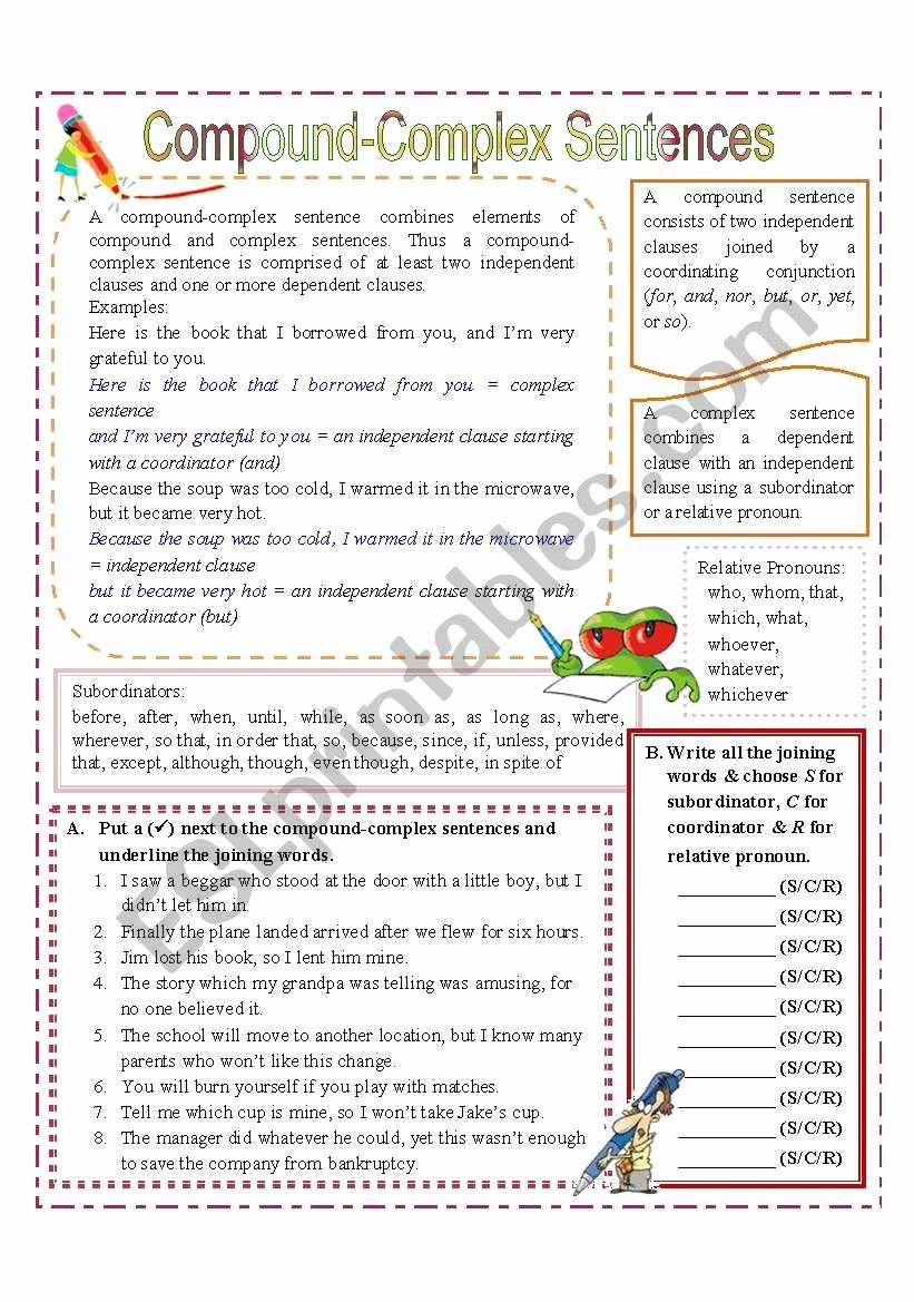 Compound and Complex Sentences Worksheet Inspirational Pound Plex Sentences Esl Worksheet by Missola