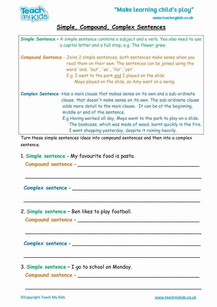 Compound and Complex Sentences Worksheet top Simple Pound Plex Sentences