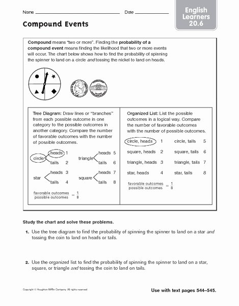Compound Probability Worksheets 7th Grade Best Of Pound events Ell 20 6 Worksheet for 6th 8th Grade