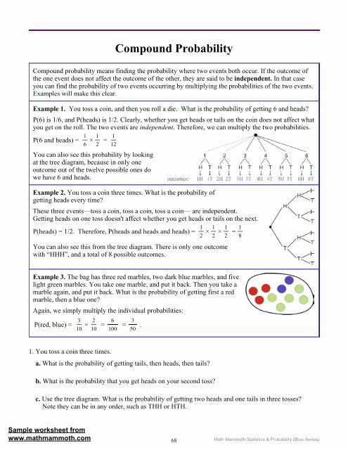 Compound Probability Worksheets 7th Grade Best Of Pound Probability Math Mammoth before and after events