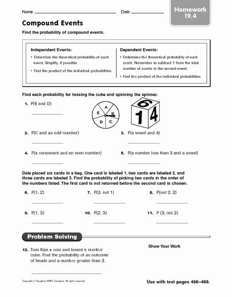 Compound Probability Worksheets 7th Grade Lovely Pound events Finding the Probability Worksheet for 6th
