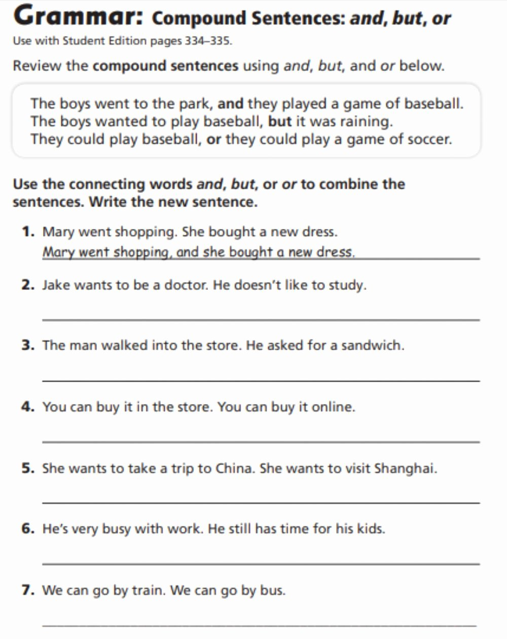Compound Sentences Worksheet with Answers Kids Pound Sentences Interactive Worksheet