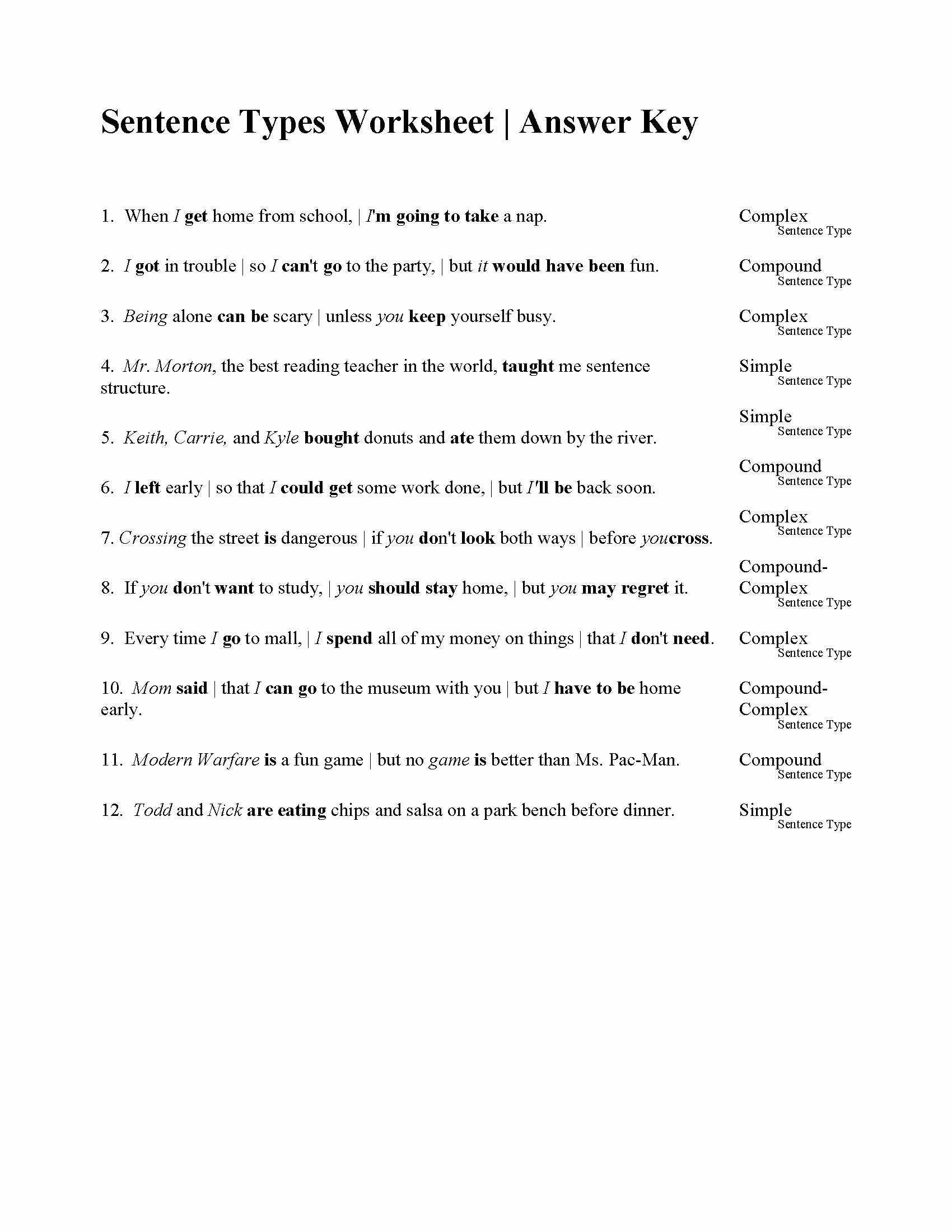 Compound Sentences Worksheet with Answers top Sentences Types Worksheet