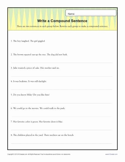 Compound Sentences Worksheet with Answers top Write A Pund Sentence