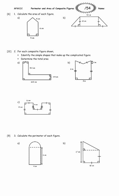 Compound Shapes Worksheet Answer Key Inspirational Perimeter and area Of Posite Figures Worksheet 2011