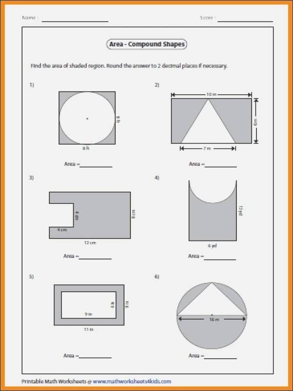 Compound Shapes Worksheet Answer Key Printable 24 area Pound Shapes Worksheet In 2020