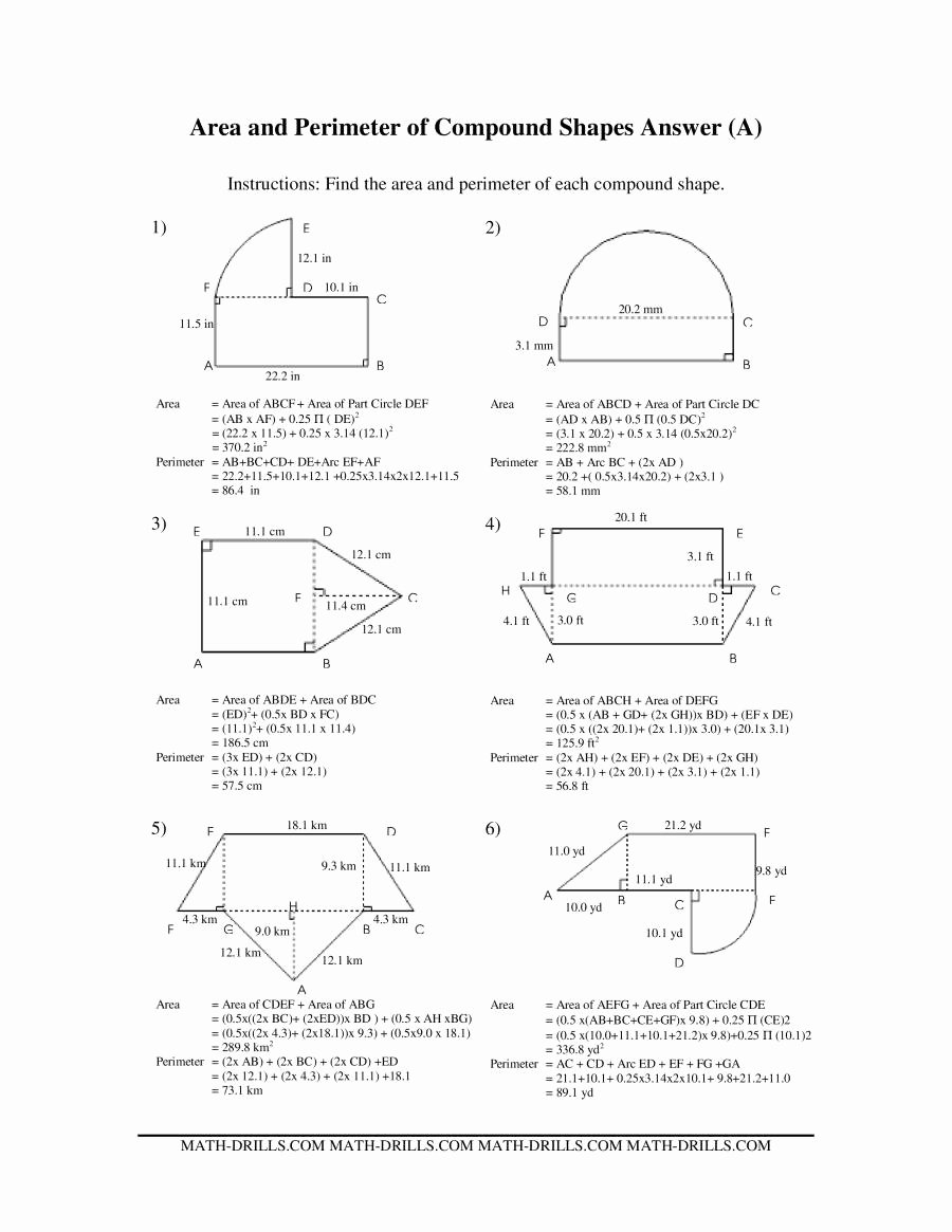 Compound Shapes Worksheet Answer Key top area and Perimeter Of Pound Shapes A