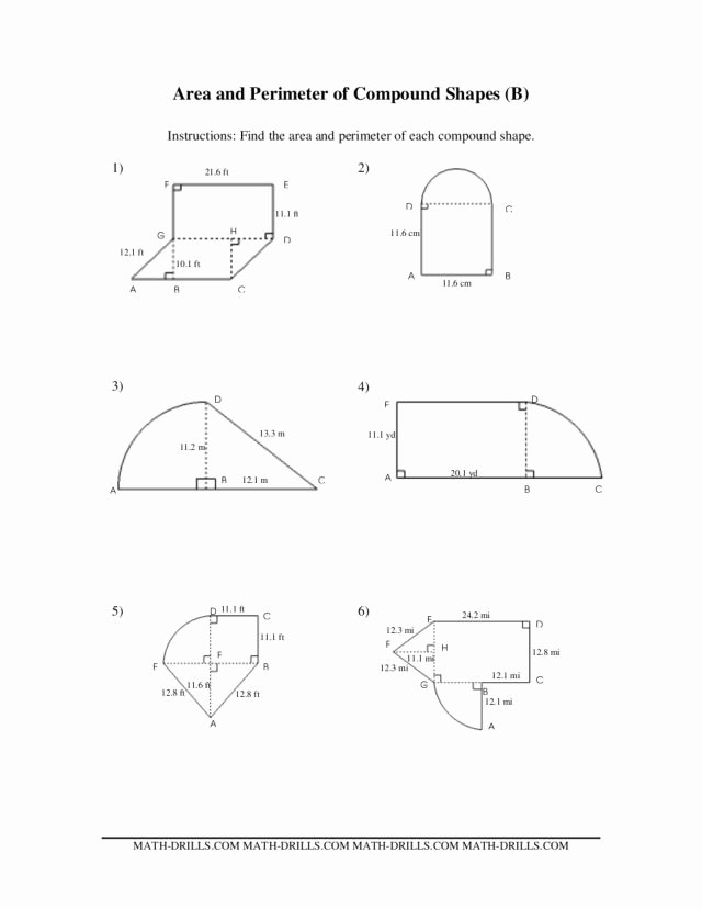 Compound Shapes Worksheet Answer Key top Pound Shapes area and Perimeter Worksheet for 6th 7th