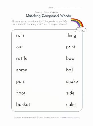 Compound Word Worksheet 2nd Grade Free Matching Pound Words Worksheet E Of Four