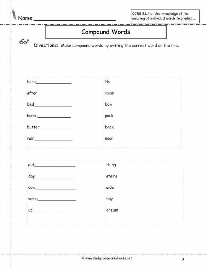 Compound Word Worksheet 2nd Grade New Pound Word Meaning Worksheets