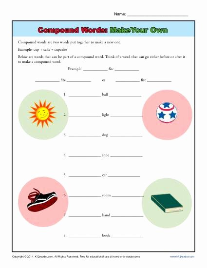 Compound Word Worksheet 2nd Grade top Pound Words Worksheet Activity Make Your Own