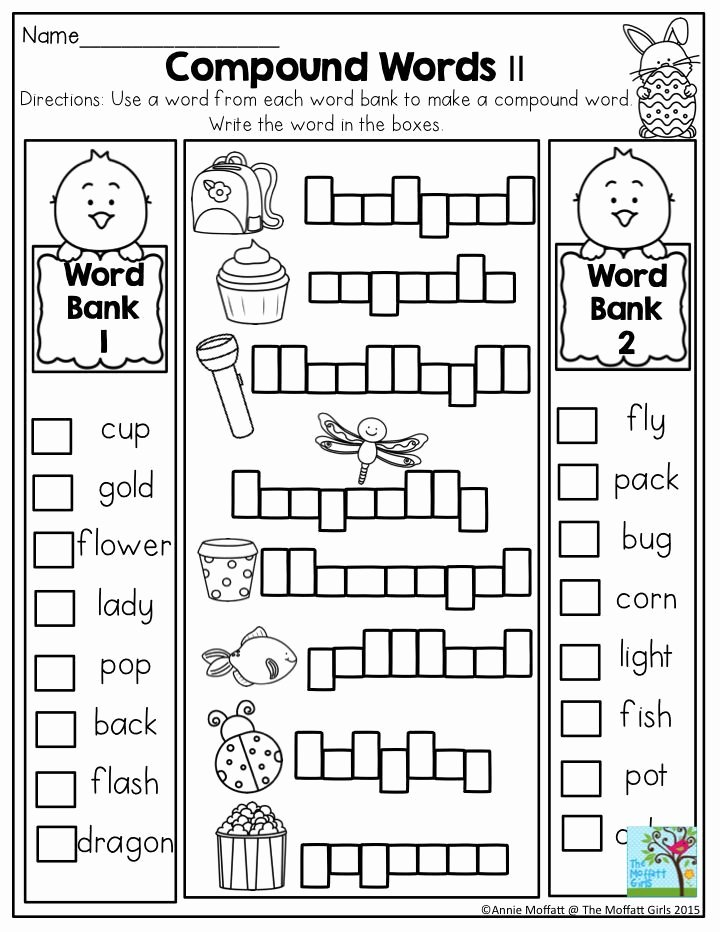 Compound Words Worksheets 1st Grade Lovely First Grade Pound Words Worksheet In the No Prep Packet