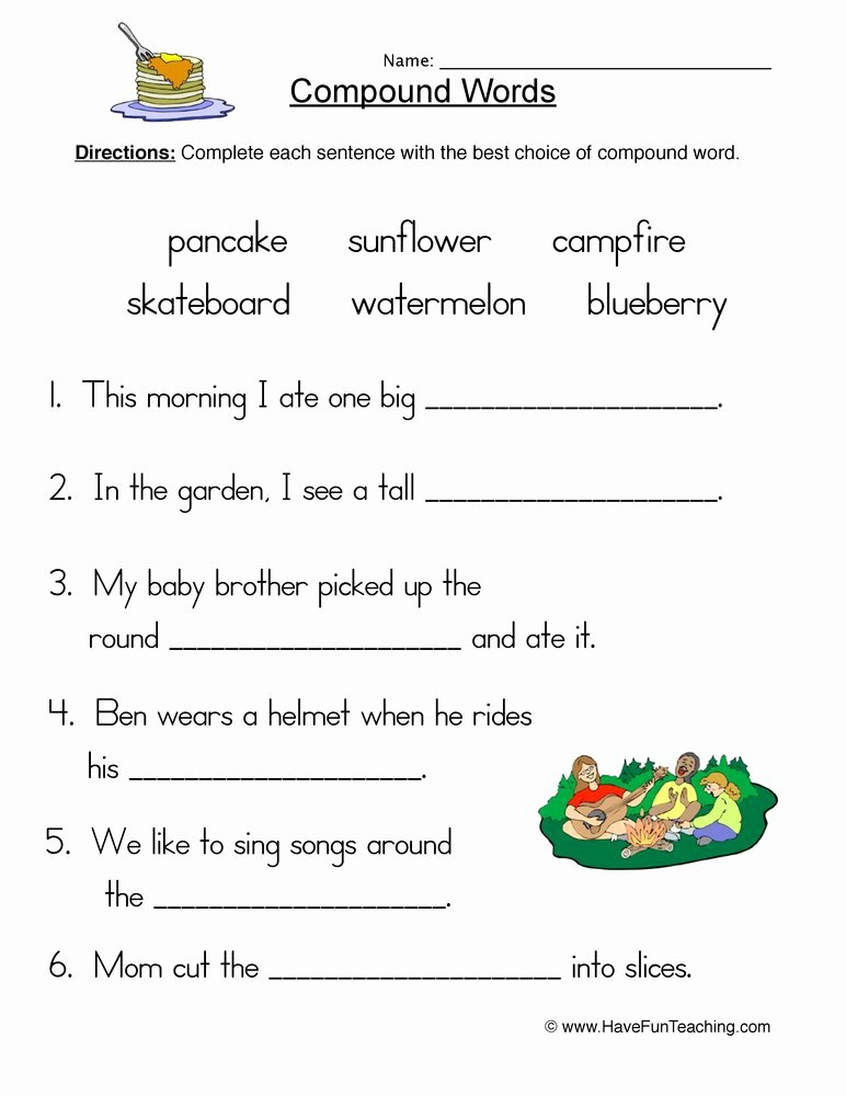 Compound Words Worksheets 1st Grade Lovely Pound Words Fill In Blank Worksheet