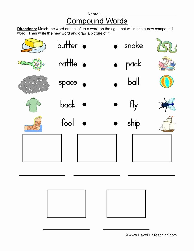 Compound Words Worksheets 1st Grade New Connect and Draw Pound Words Worksheet