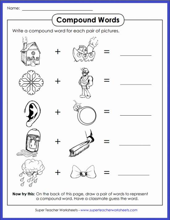 Compound Words Worksheets 1st Grade Printable Pound Words Worksheets