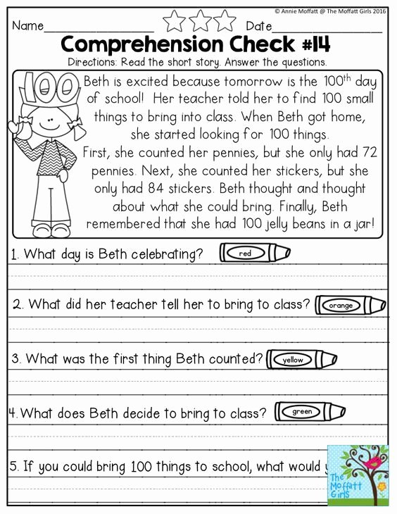 Comprehension Worksheets for First Grade Fresh February Fun Filled Learning