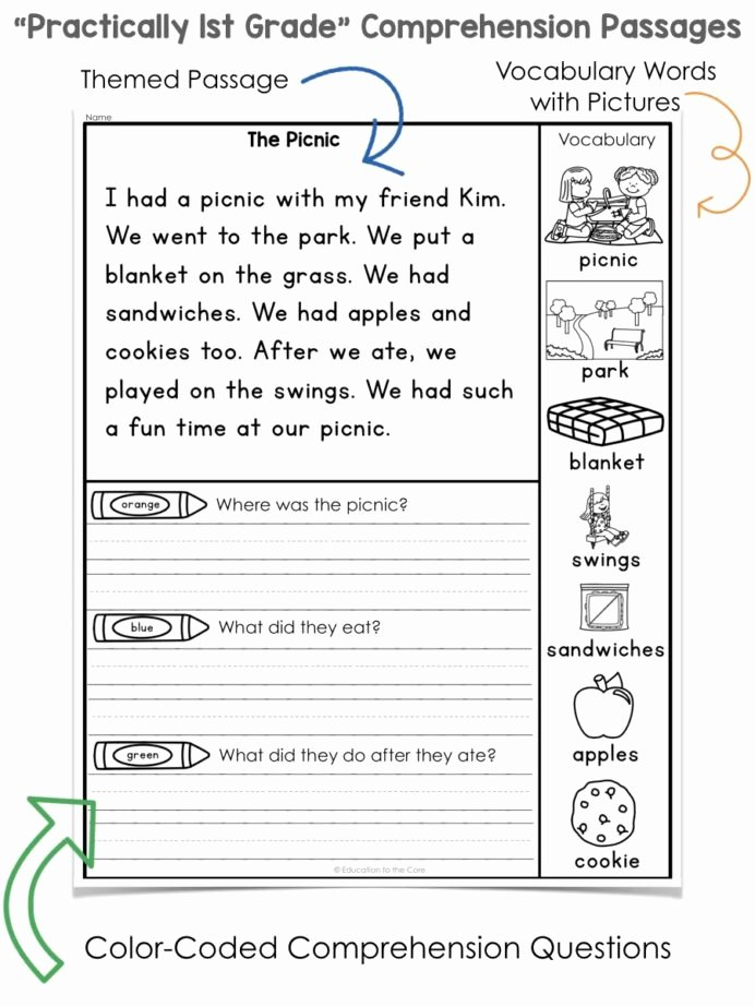 Comprehension Worksheets for First Grade Kids Practically 1st Grade Reading Prehension Passages and
