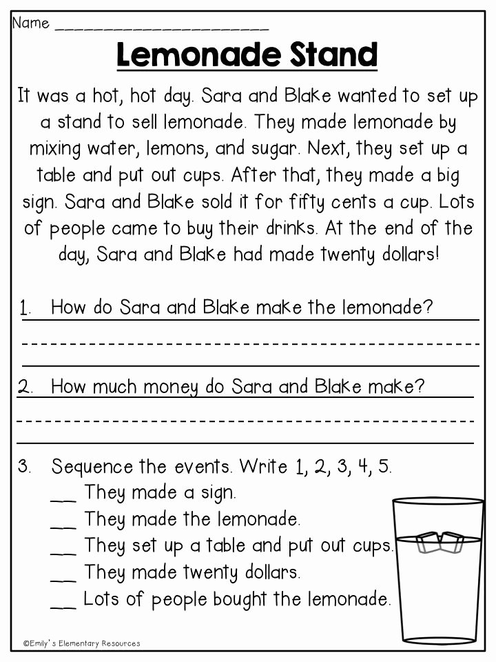 Comprehension Worksheets for First Grade Kids Summer First Grade Review Printables