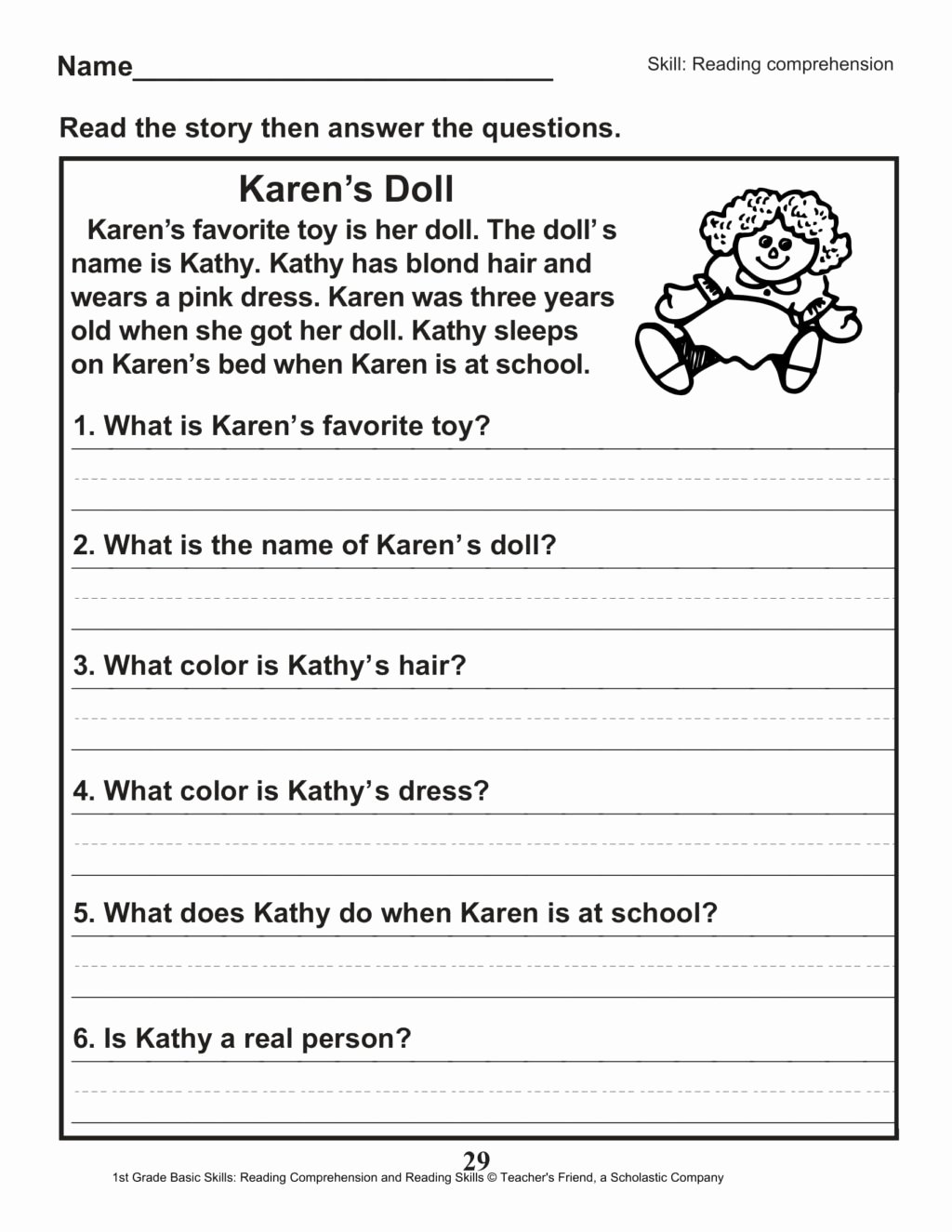 Comprehension Worksheets for Grade 1 Kids Worksheet 1st Grade Reading Prehension Worksheets Pdf