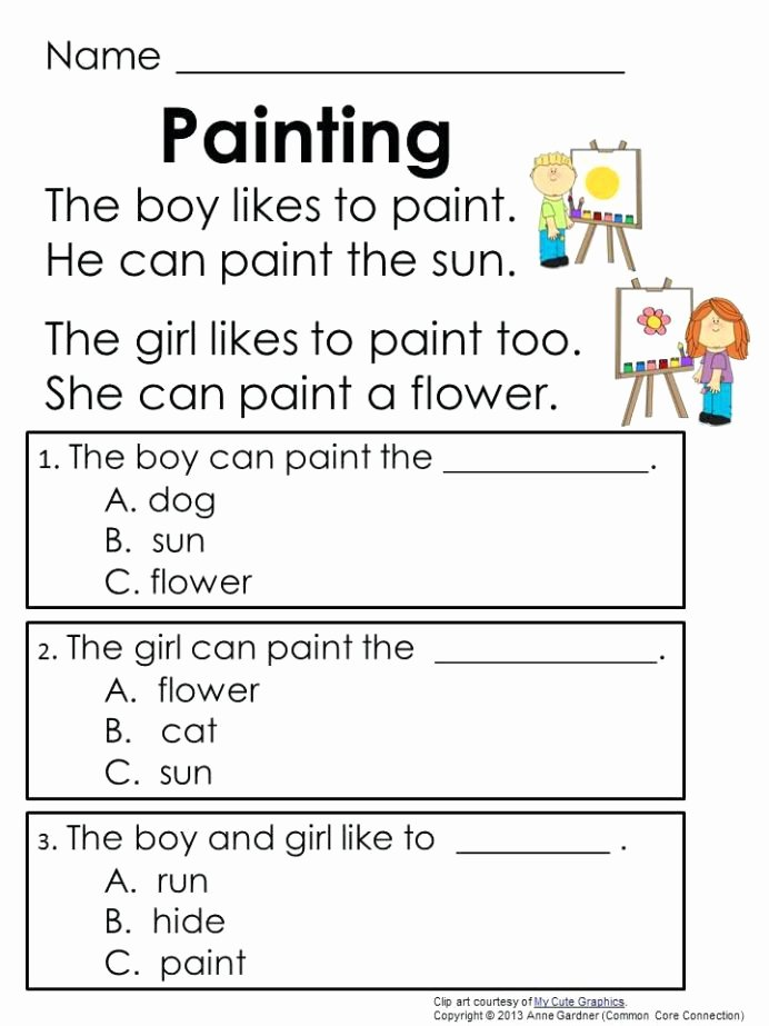 Comprehension Worksheets for Grade 1 Printable Reading Prehension Kindergarten Worksheets Free for Grade