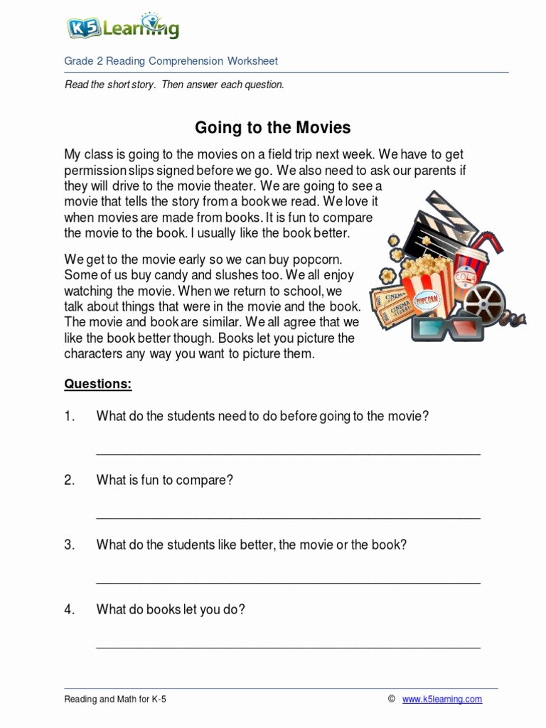 Comprehension Worksheets for Grade 2 Best Of 2nd Grade 2 Reading Prehension Worksheet Going Movies