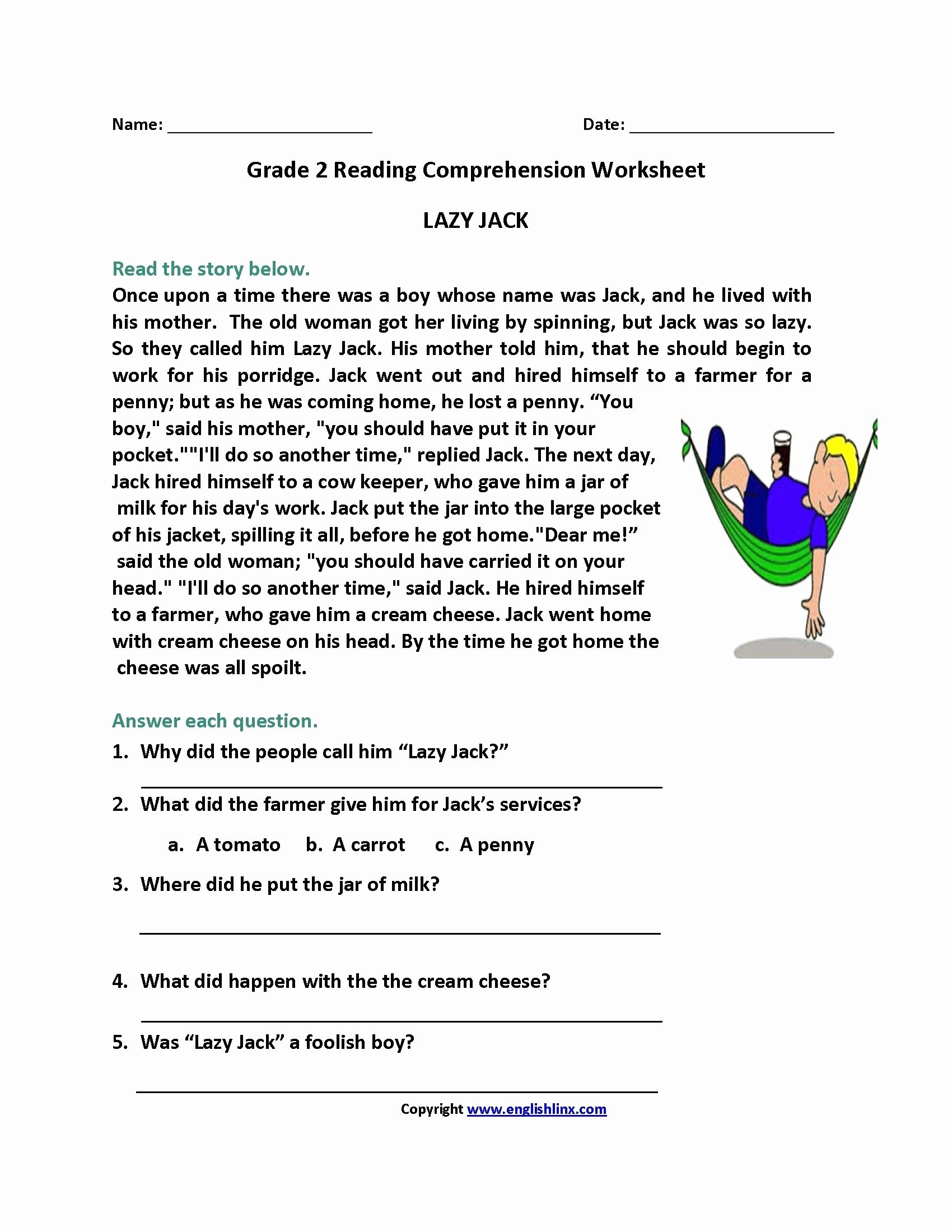 Comprehension Worksheets for Grade 2 New Printable Reading Prehension Worksheets for 2nd Graders