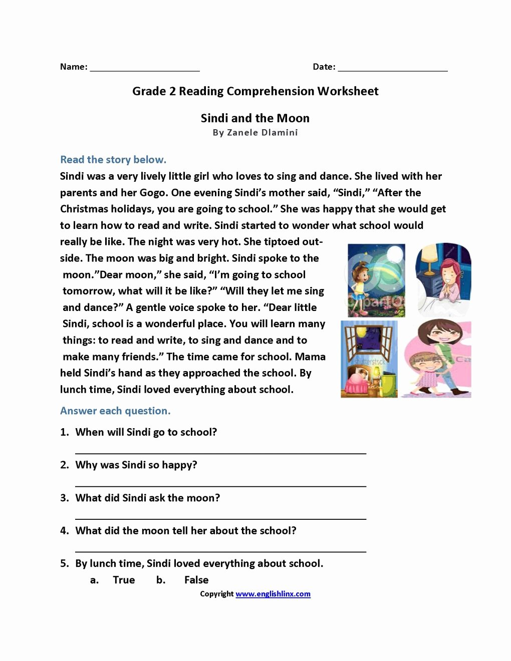 Comprehension Worksheets for Grade 2 Printable Worksheet Worksheet Grade Reading Prehension