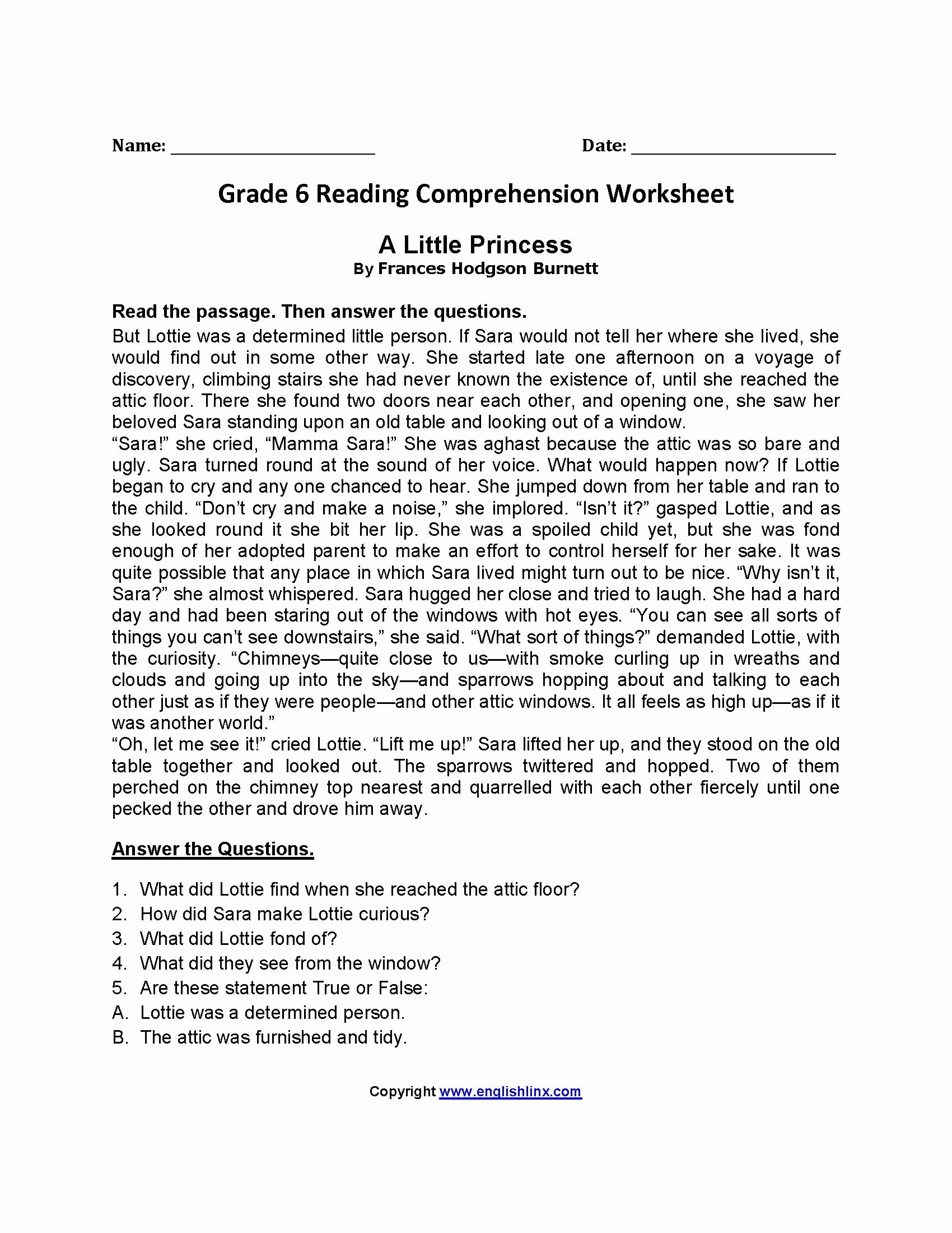 Comprehension Worksheets for Grade 6 Free Free Printable Reading Worksheets for Grade 6 2 In 2020
