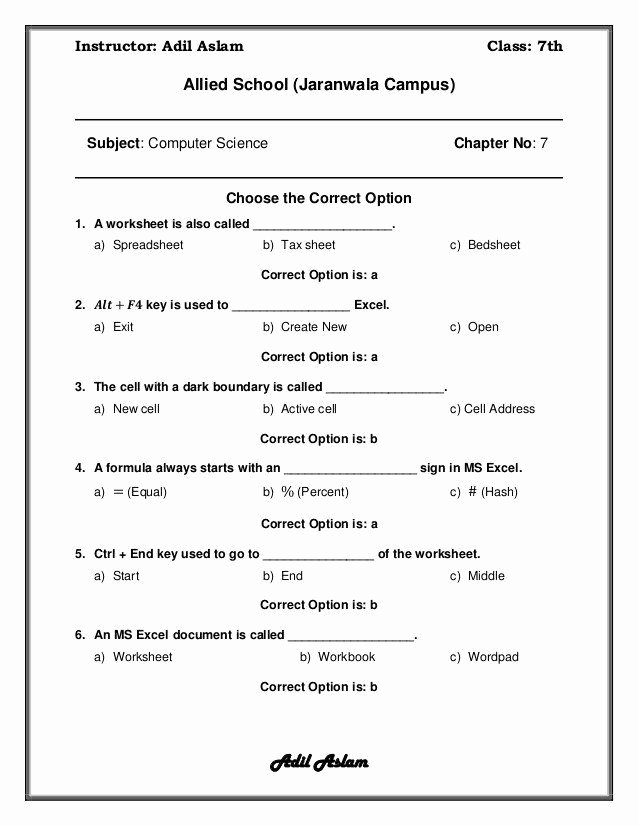 Computer Worksheets for Middle School Lovely Puter Worksheets for Middle School Puter Science Class 7