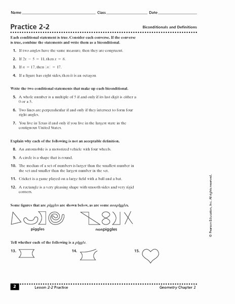 Conditional Statements Worksheet with Answers Ideas Practice 2 2 Biconditionals and Definitions Worksheet for