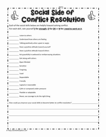 Conflict Resolution Worksheets for Students New Conflict Resolution Worksheets
