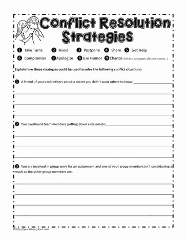 Conflict Worksheets for Middle School top Conflict Resolution Worksheets