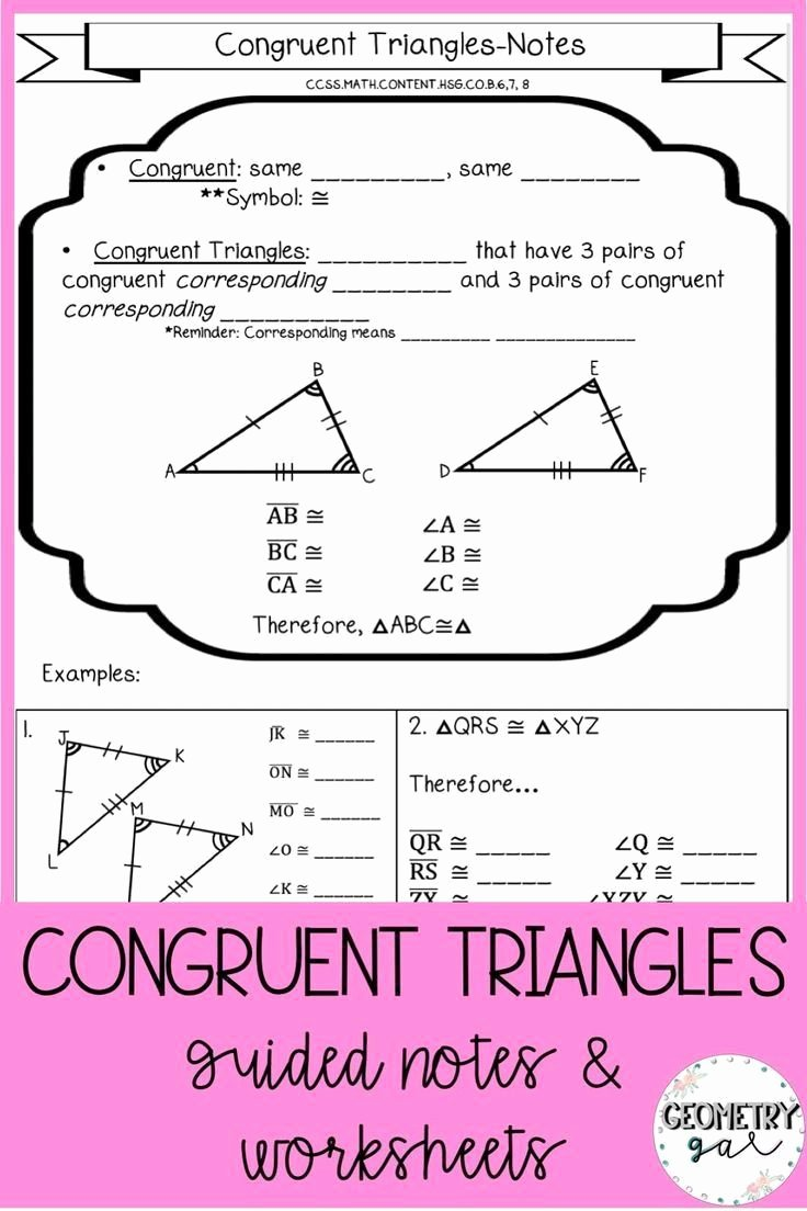 Congruent Triangles Worksheet Answer Key Printable Congruent Triangles Worksheet with Answers Congruent